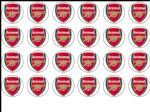 24 Arsenal FC Edible Wafer Rice Cup Cake Toppers